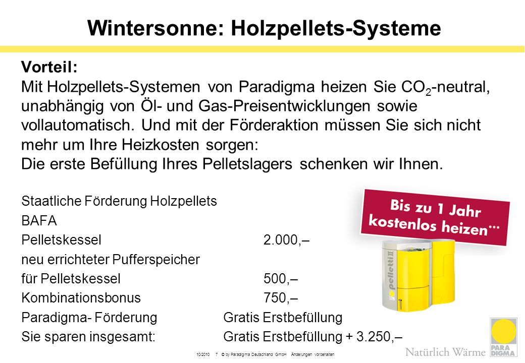 Wintersonne: Holzpellets-Systeme