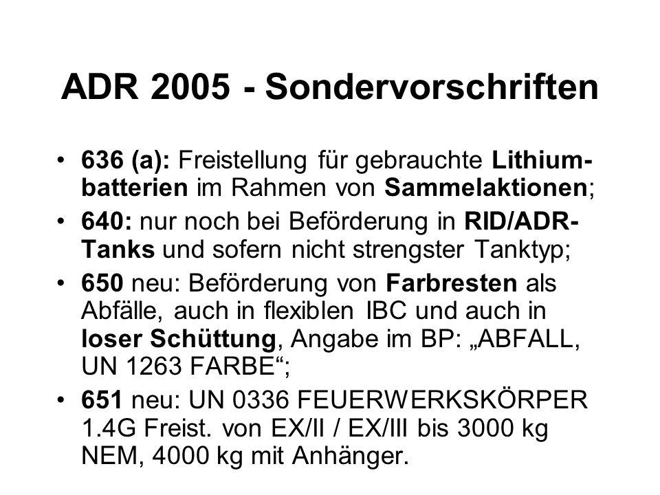 ADR 2005 - Sondervorschriften