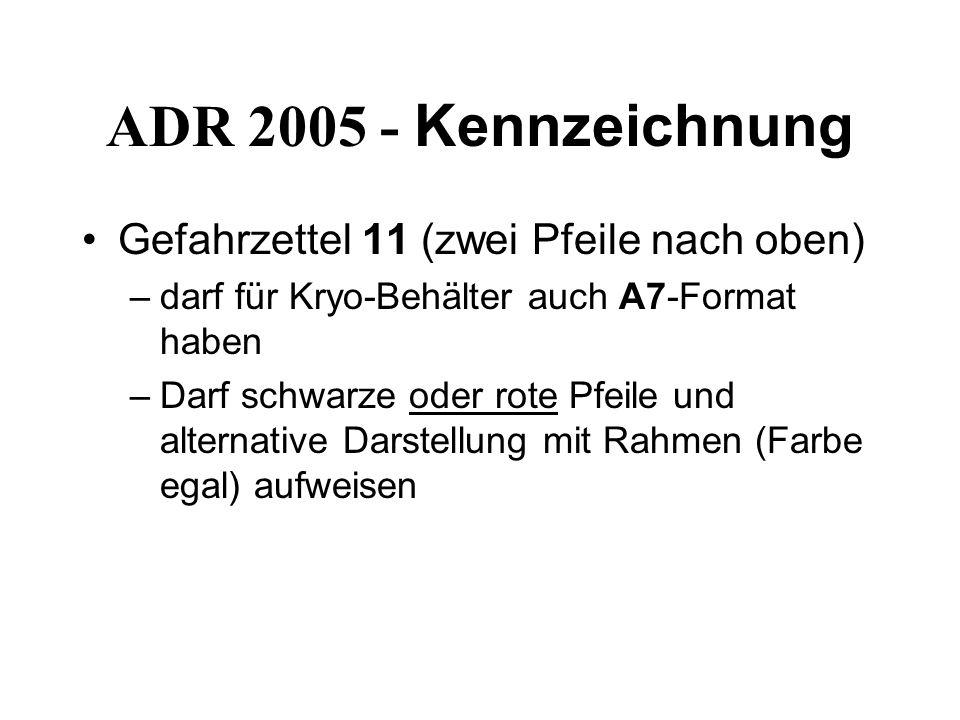ADR 2005 - Kennzeichnung Gefahrzettel 11 (zwei Pfeile nach oben)