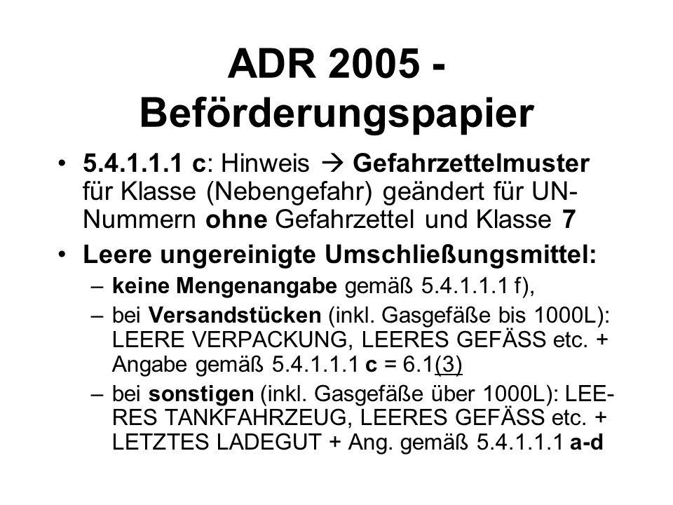 ADR 2005 - Beförderungspapier