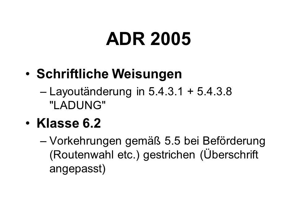 ADR 2005 Schriftliche Weisungen Klasse 6.2