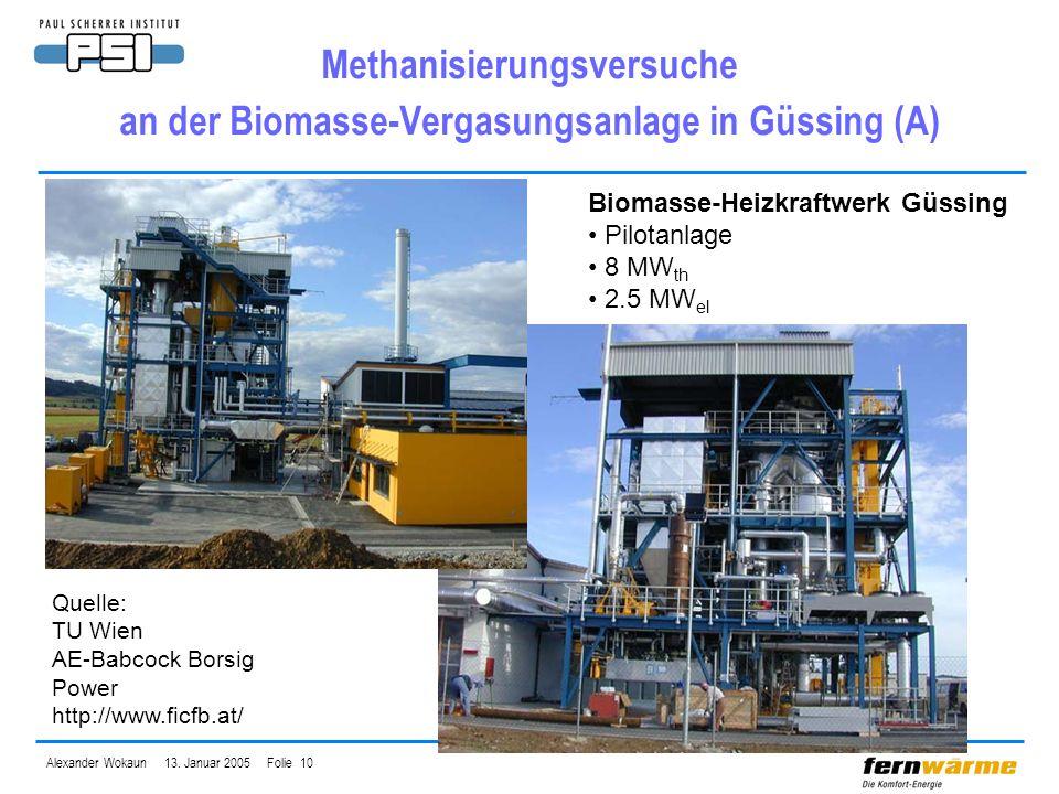 Methanisierungsversuche an der Biomasse-Vergasungsanlage in Güssing (A)