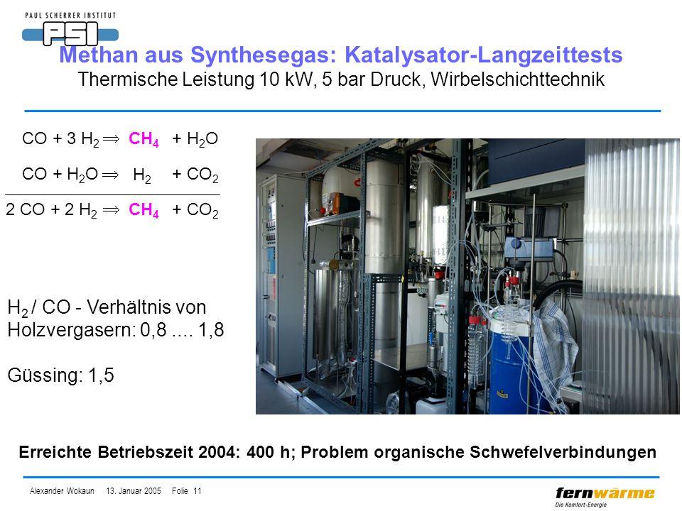 Methan aus Synthesegas: Katalysator-Langzeittests Thermische Leistung 10 kW, 5 bar Druck, Wirbelschichttechnik