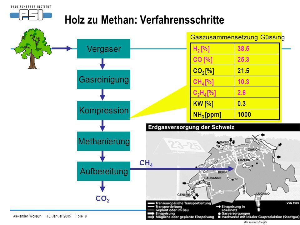 Holz zu Methan: Verfahrensschritte