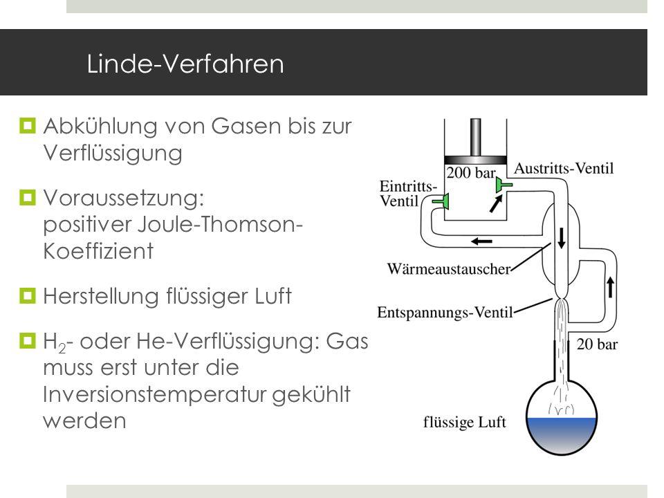 Linde-Verfahren Abkühlung von Gasen bis zur Verflüssigung