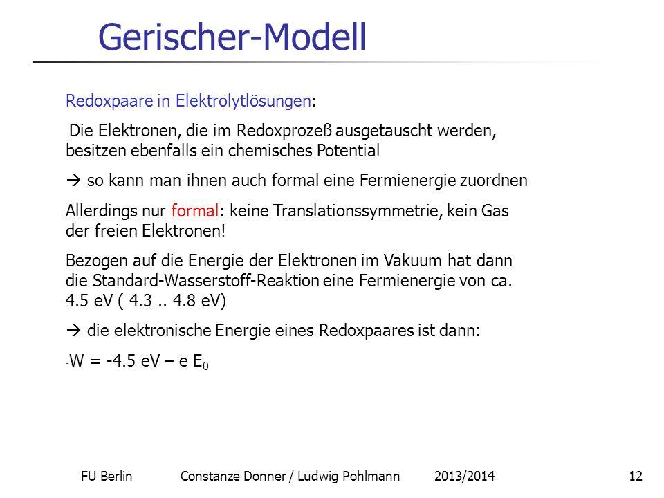 FU Berlin Constanze Donner / Ludwig Pohlmann 2013/2014