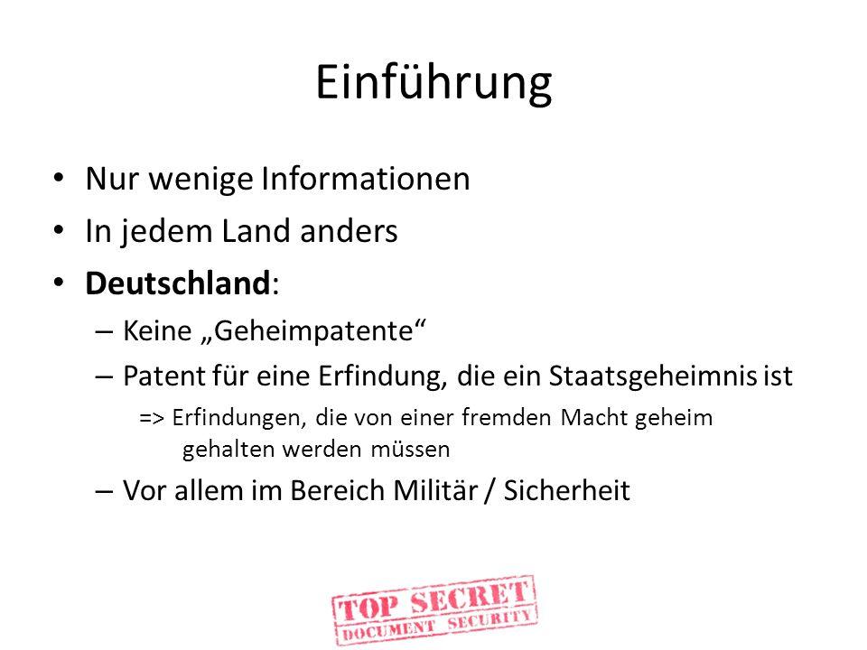 Einführung Nur wenige Informationen In jedem Land anders Deutschland: