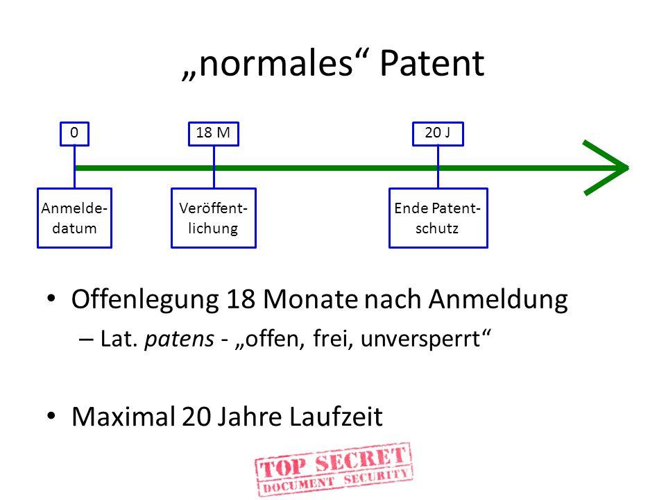 """normales Patent Offenlegung 18 Monate nach Anmeldung"