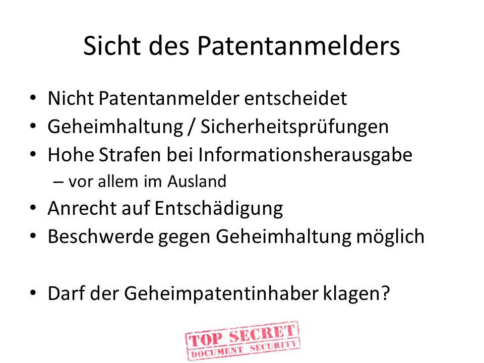 Sicht des Patentanmelders