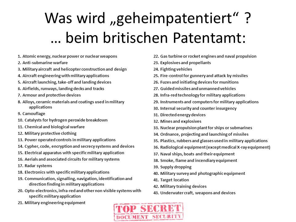 """Was wird """"geheimpatentiert … beim britischen Patentamt:"""