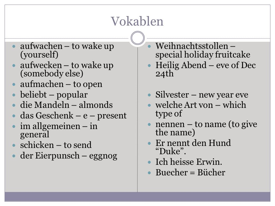 Vokablen aufwachen – to wake up (yourself)
