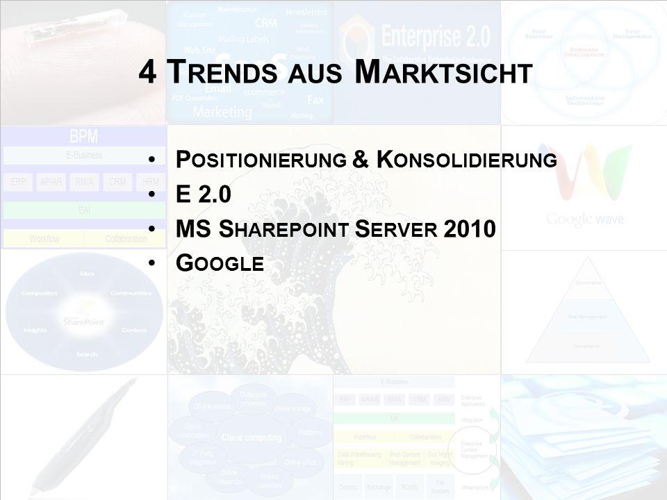 4 Trends aus Marktsicht Positionierung & Konsolidierung E 2.0
