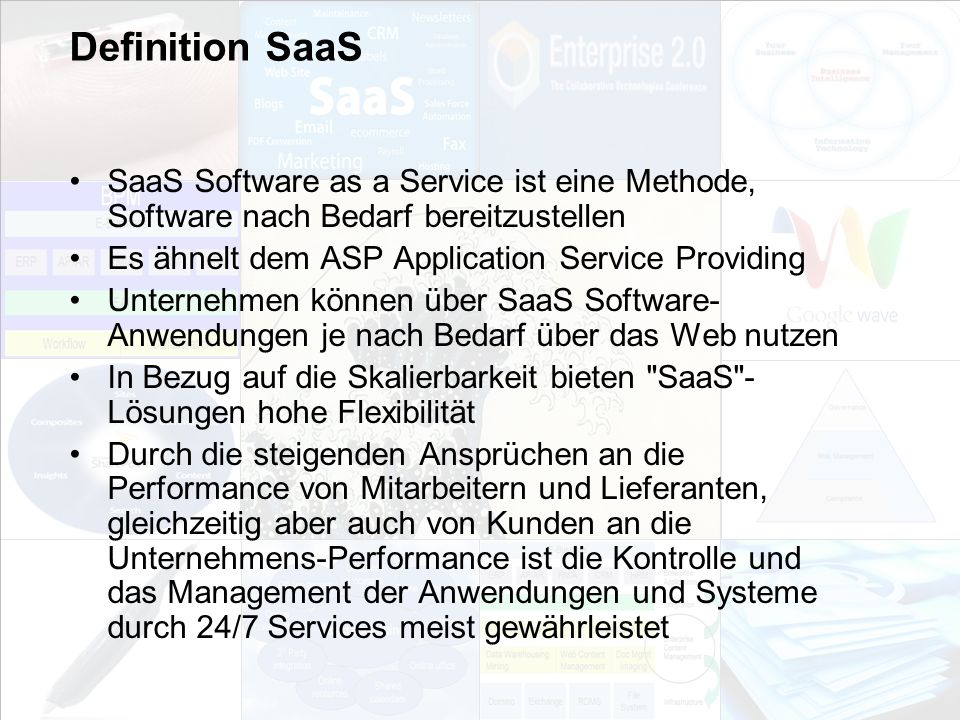 Definition SaaSSaaS Software as a Service ist eine Methode, Software nach Bedarf bereitzustellen. Es ähnelt dem ASP Application Service Providing.