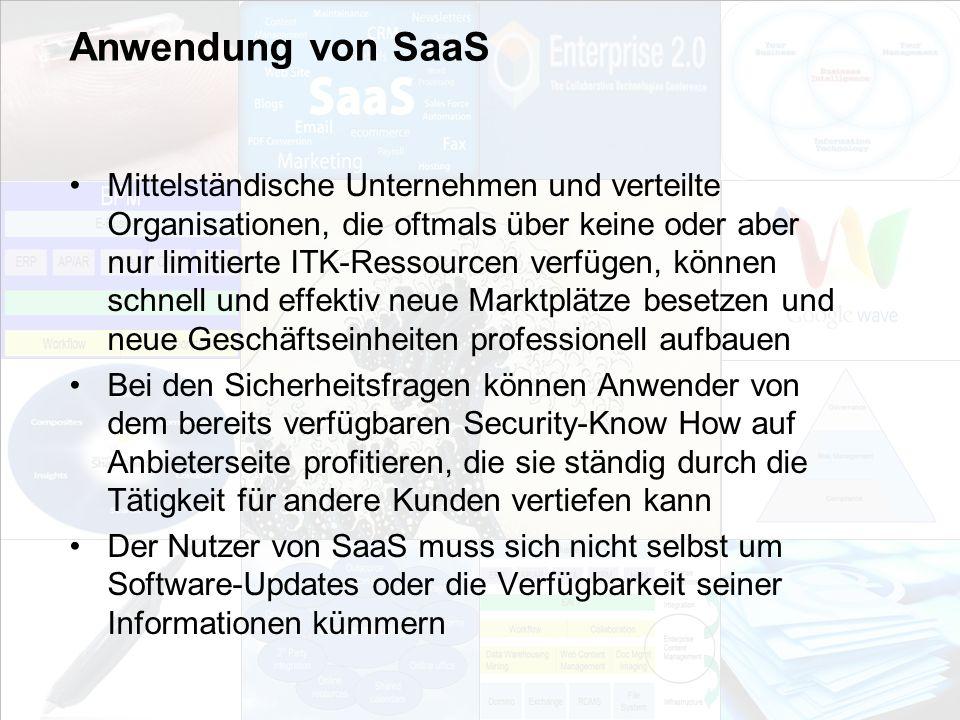 Anwendung von SaaS