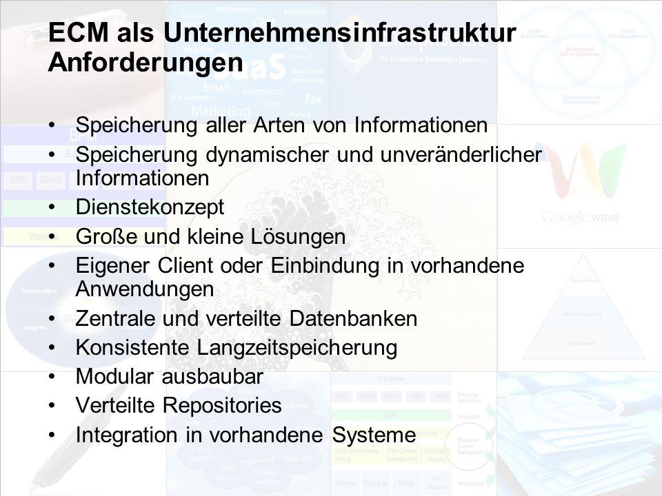 ECM als Unternehmensinfrastruktur Anforderungen