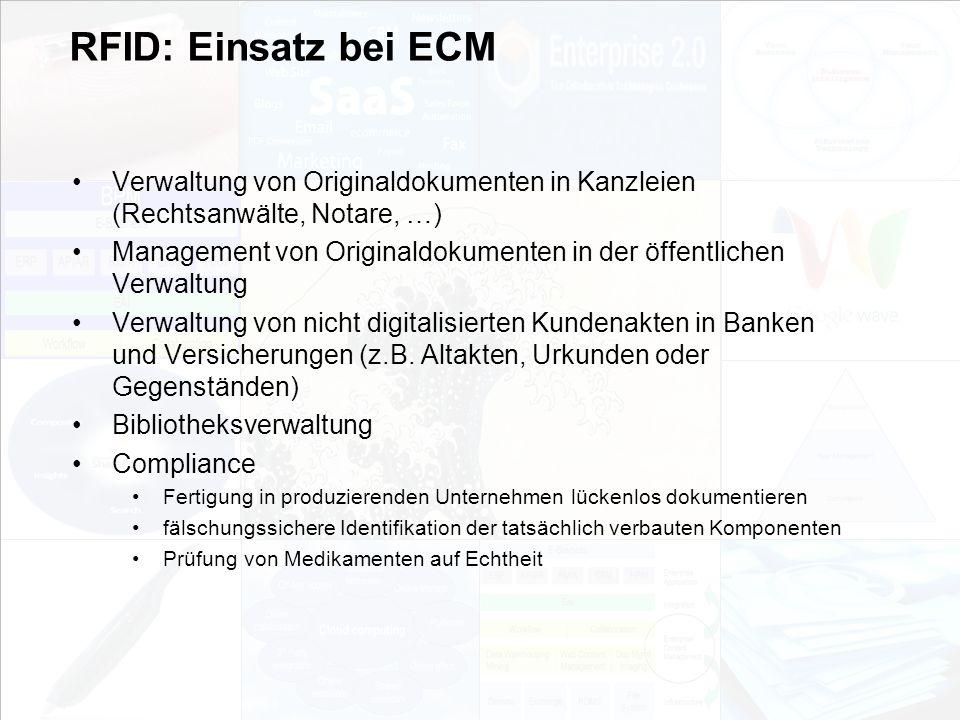 RFID: Einsatz bei ECM Verwaltung von Originaldokumenten in Kanzleien (Rechtsanwälte, Notare, …)
