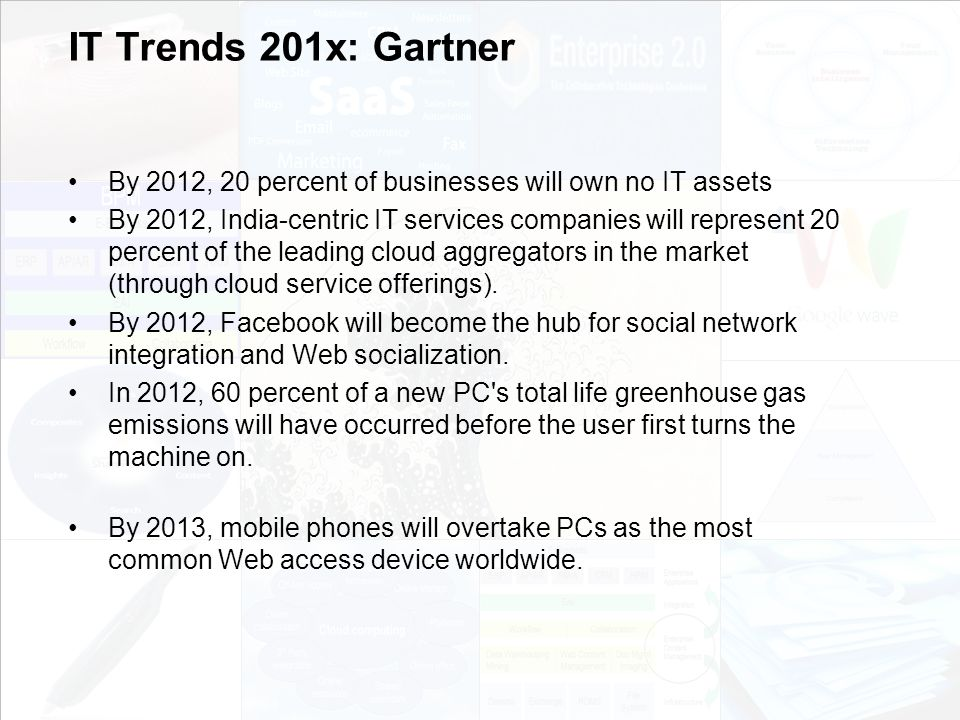 IT Trends 201x: Gartner By 2012, 20 percent of businesses will own no IT assets.