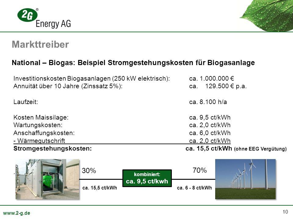 Markttreiber National – Biogas: Beispiel Stromgestehungskosten für Biogasanlage.