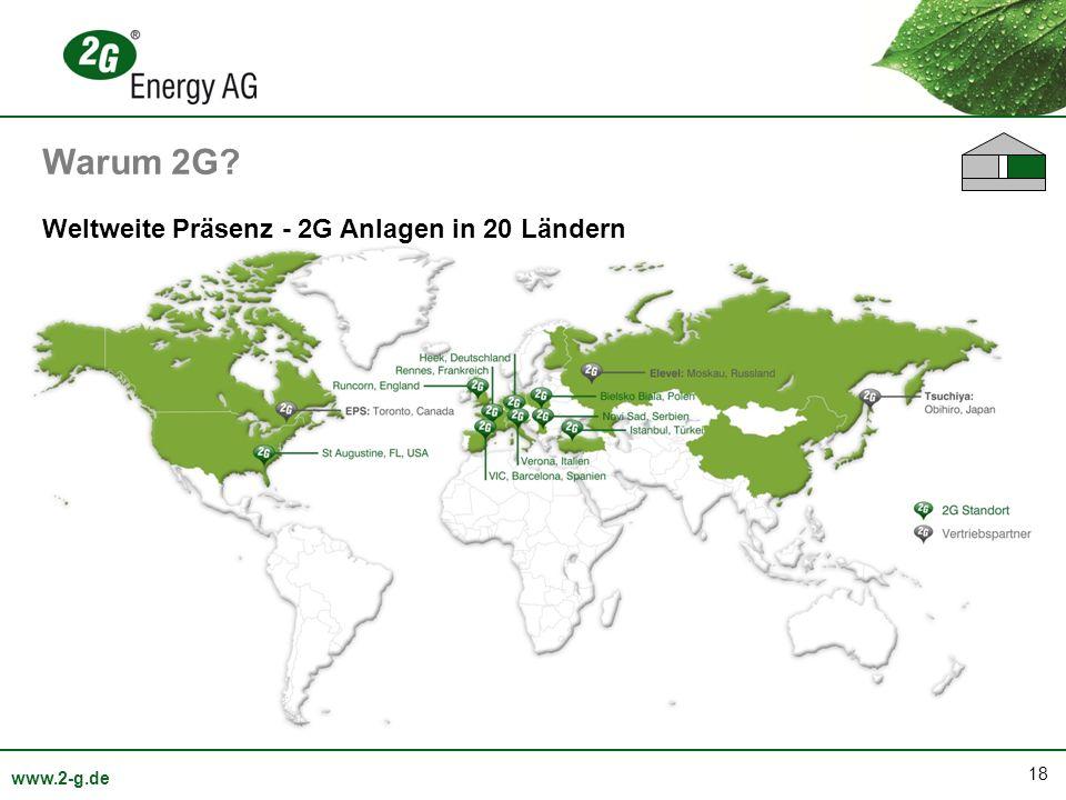 Warum 2G Weltweite Präsenz - 2G Anlagen in 20 Ländern