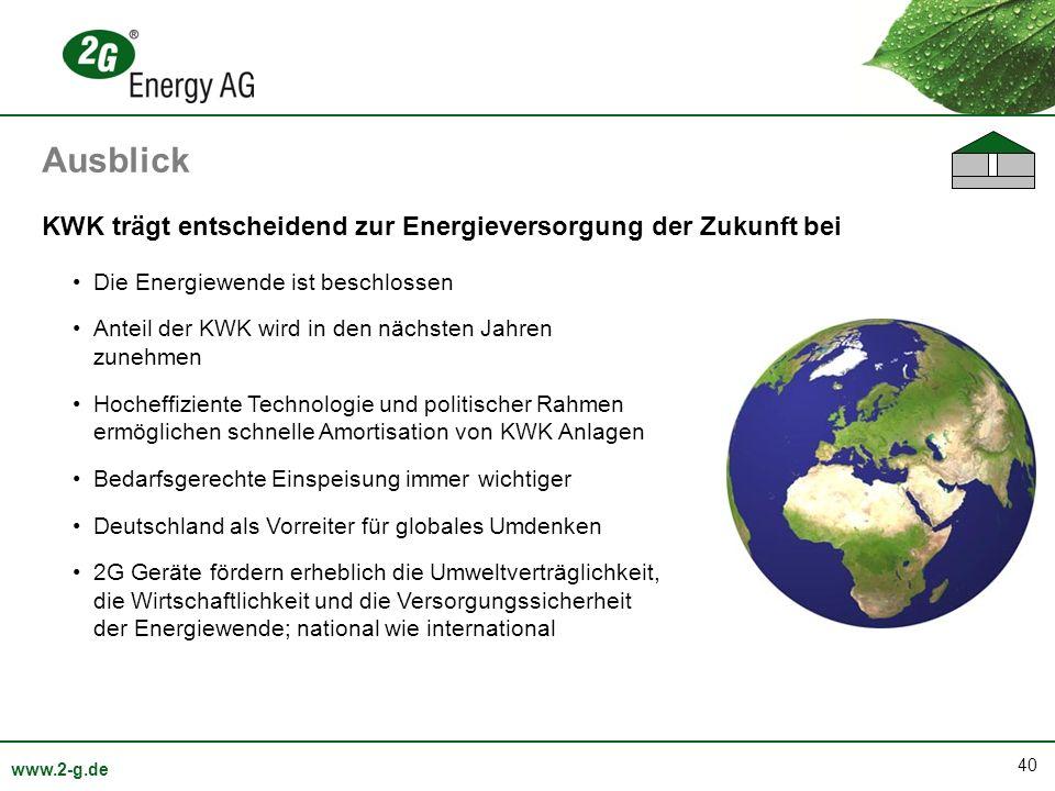 Ausblick KWK trägt entscheidend zur Energieversorgung der Zukunft bei