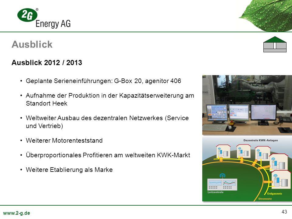 Ausblick Ausblick 2012 / 2013. Geplante Serieneinführungen: G-Box 20, agenitor 406.