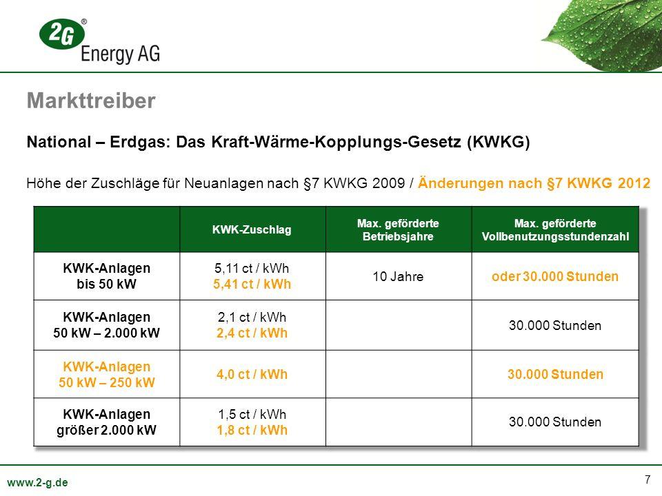 Markttreiber National – Erdgas: Das Kraft-Wärme-Kopplungs-Gesetz (KWKG)