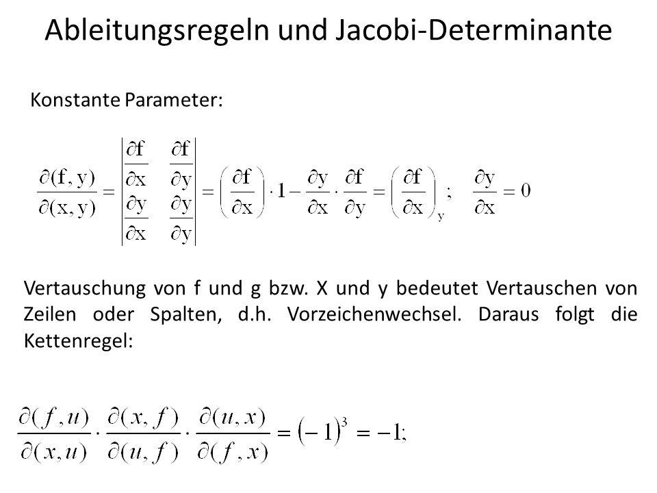 Ableitungsregeln und Jacobi-Determinante