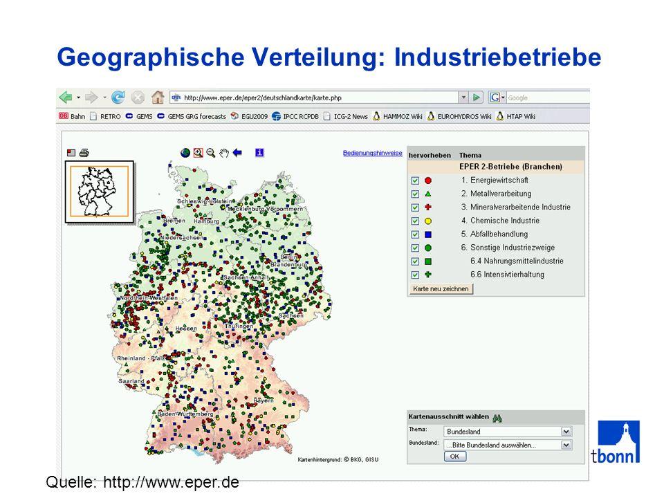Geographische Verteilung: Industriebetriebe