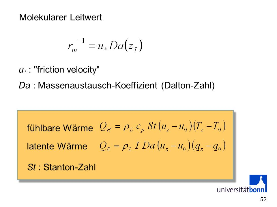 Da : Massenaustausch-Koeffizient (Dalton-Zahl)