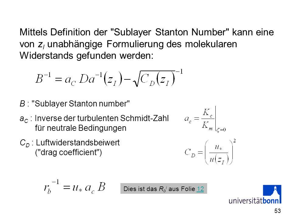 Mittels Definition der Sublayer Stanton Number kann eine von zI unabhängige Formulierung des molekularen Widerstands gefunden werden: