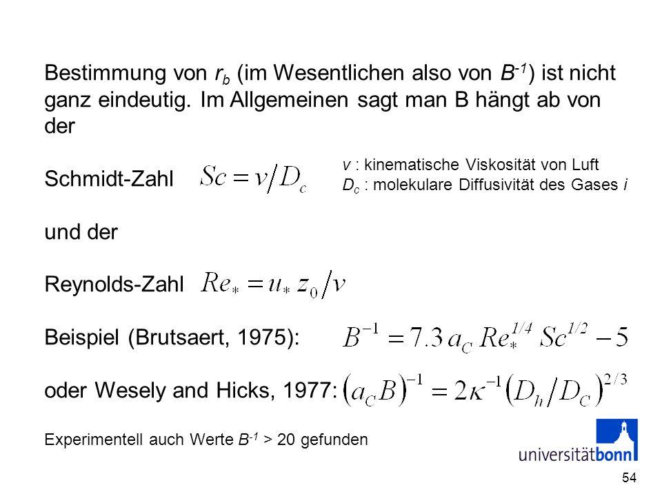 Beispiel (Brutsaert, 1975): oder Wesely and Hicks, 1977:
