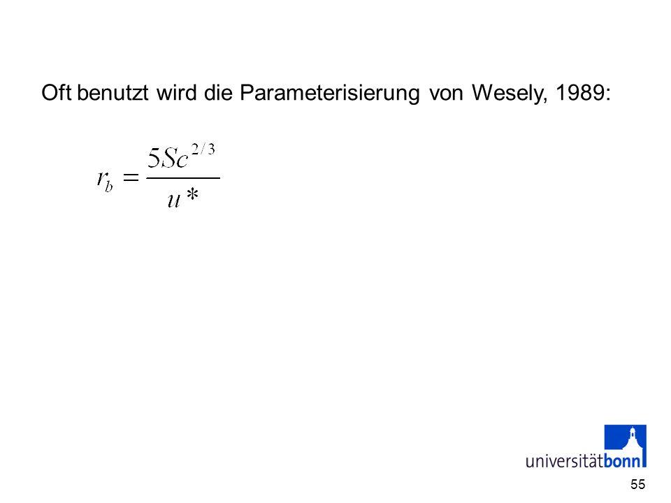 Oft benutzt wird die Parameterisierung von Wesely, 1989: