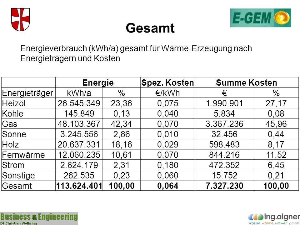 Gesamt Energieverbrauch (kWh/a) gesamt für Wärme-Erzeugung nach Energieträgern und Kosten. Energie.
