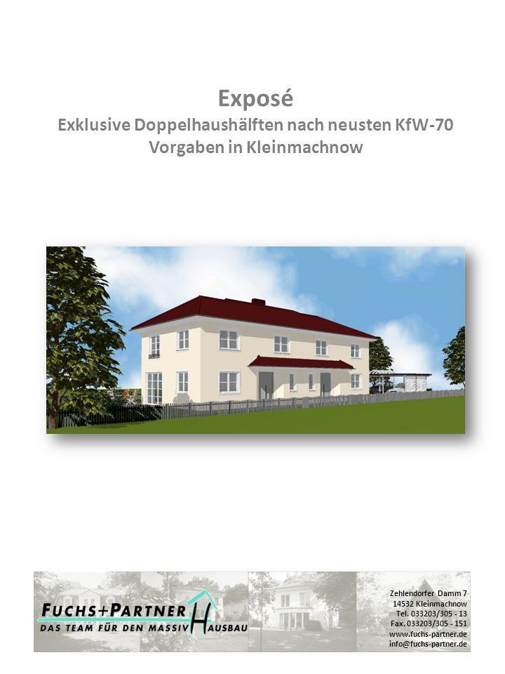 Exposé Exklusive Doppelhaushälften nach neusten KfW-70 Vorgaben in Kleinmachnow
