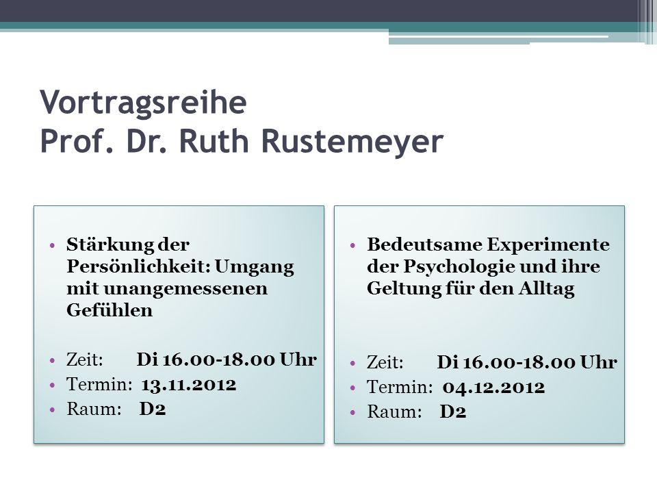 Vortragsreihe Prof. Dr. Ruth Rustemeyer