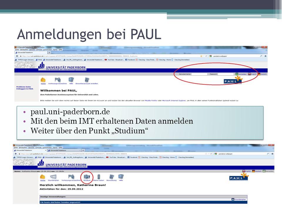 Anmeldungen bei PAUL paul.uni-paderborn.de