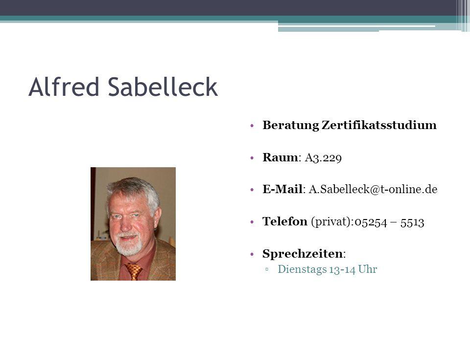 Alfred Sabelleck Beratung Zertifikatsstudium Raum: A3.229