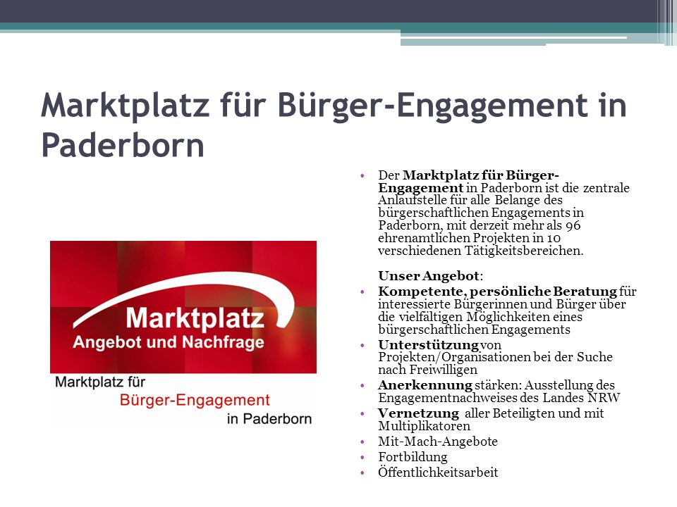 Marktplatz für Bürger-Engagement in Paderborn