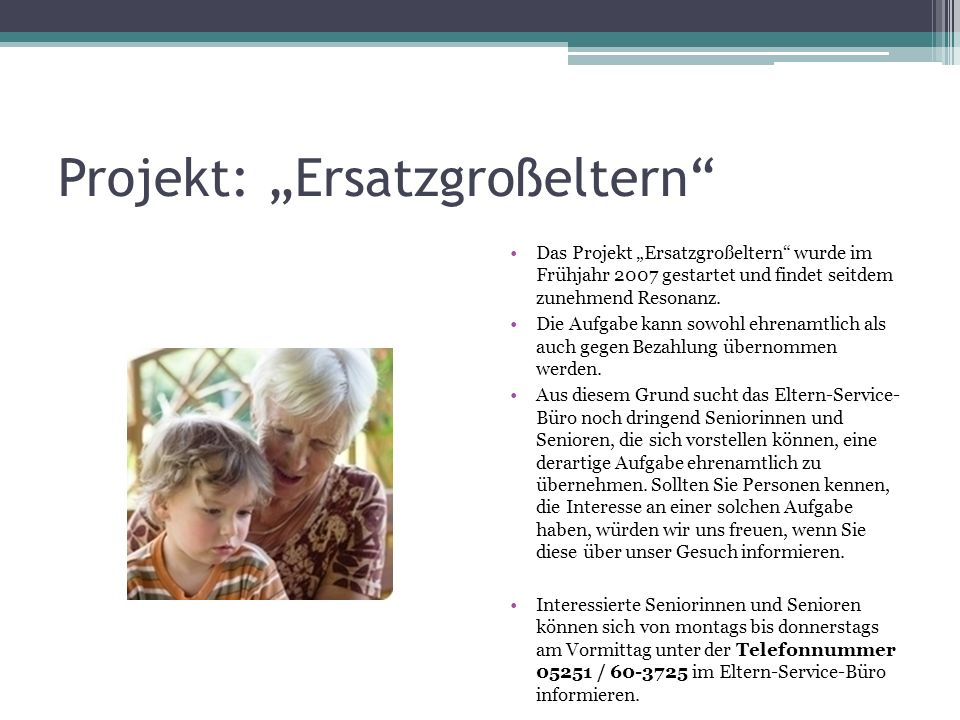 """Projekt: """"Ersatzgroßeltern"""