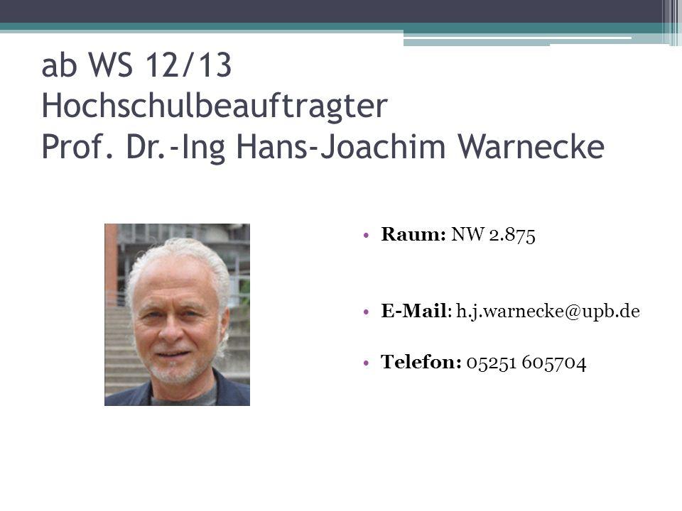 ab WS 12/13 Hochschulbeauftragter Prof. Dr.-Ing Hans-Joachim Warnecke