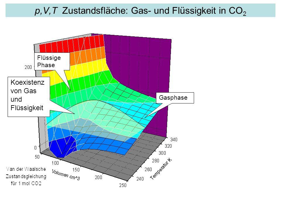 p,V,T Zustandsfläche: Gas- und Flüssigkeit in CO2