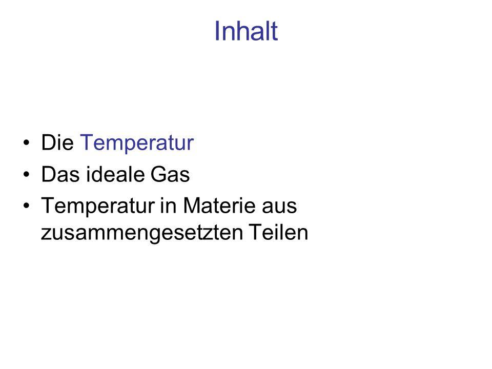 Inhalt Die Temperatur Das ideale Gas