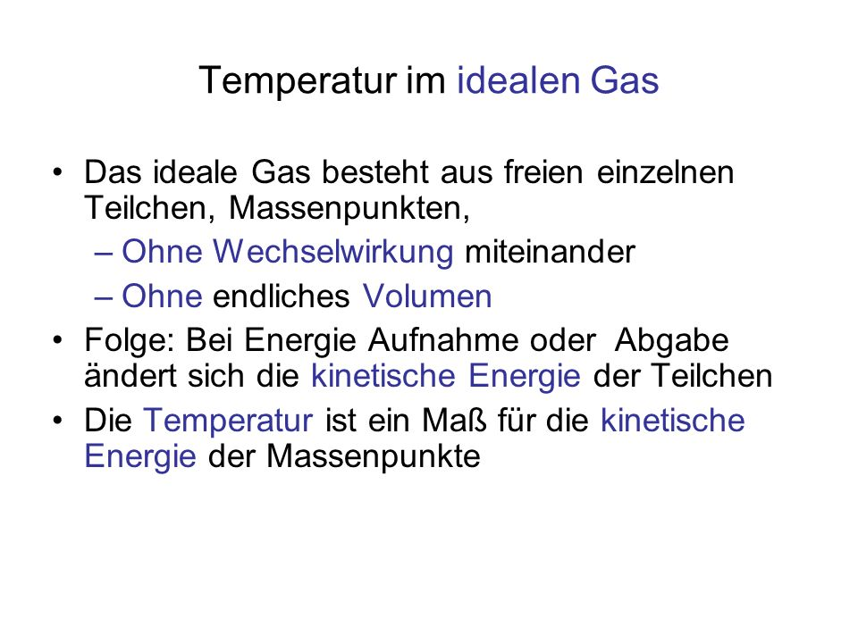 Temperatur im idealen Gas