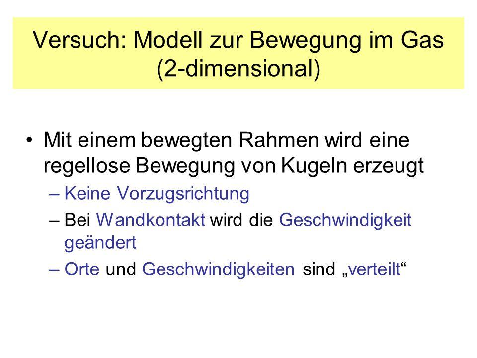Versuch: Modell zur Bewegung im Gas (2-dimensional)