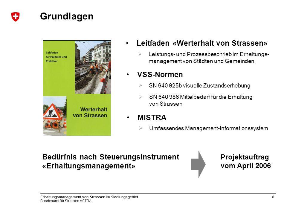 Grundlagen Leitfaden «Werterhalt von Strassen» VSS-Normen MISTRA