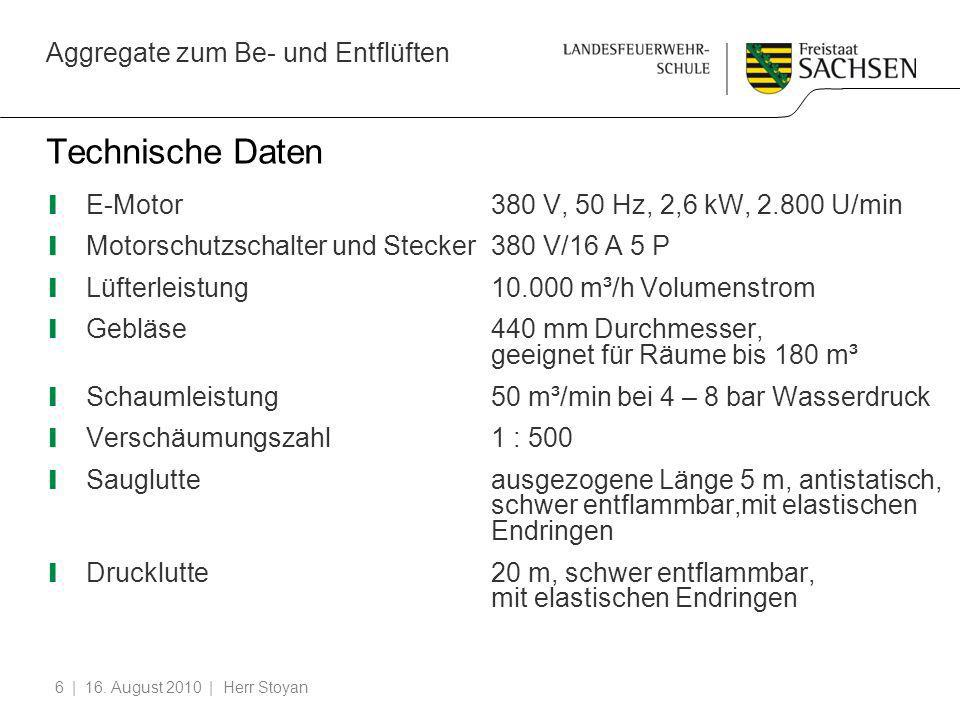 Technische Daten E-Motor 380 V, 50 Hz, 2,6 kW, 2.800 U/min