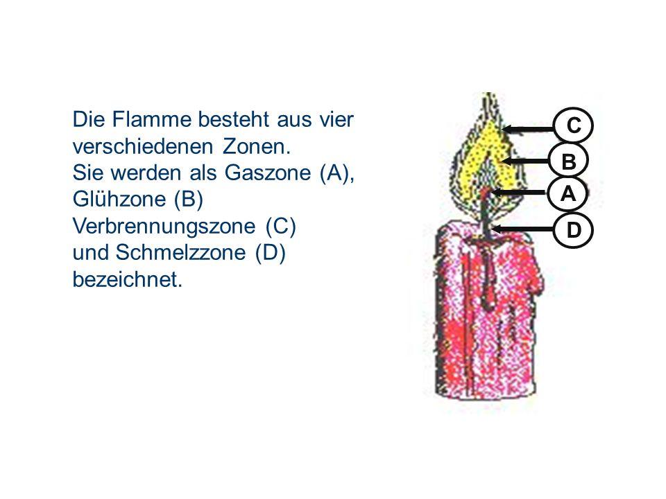 D A. B. C. Die Flamme besteht aus vier verschiedenen Zonen. Sie werden als Gaszone (A), Glühzone (B)