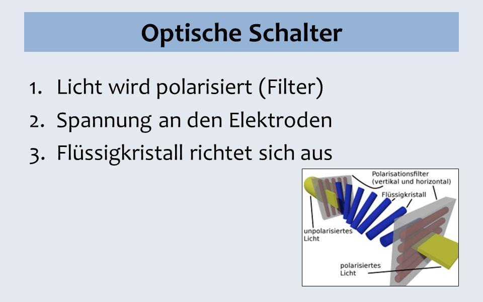 Optische Schalter Licht wird polarisiert (Filter)