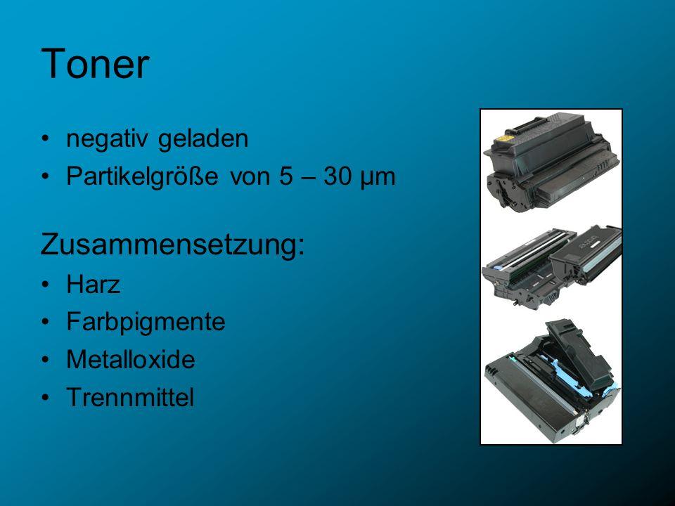 Toner Zusammensetzung: negativ geladen Partikelgröße von 5 – 30 µm