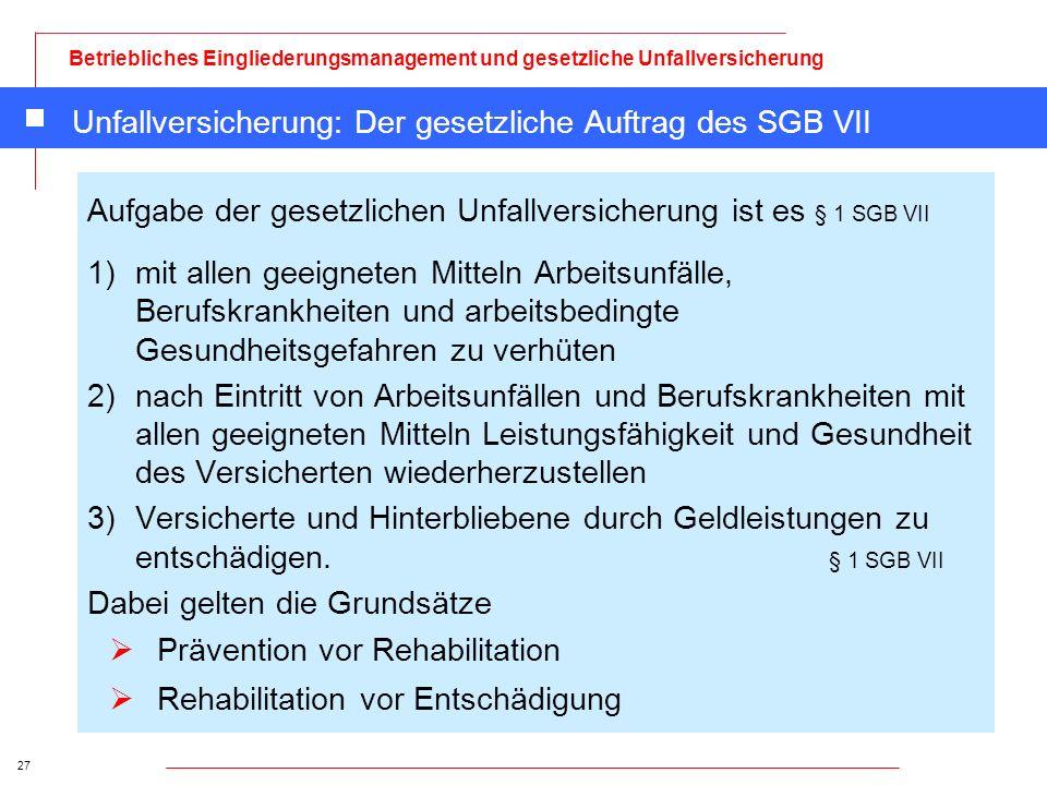 Unfallversicherung: Der gesetzliche Auftrag des SGB VII